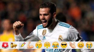 Nacho celebra su gol al Apoel