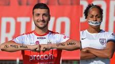 Rubén Mesa (UD Sanse) y Jade Boho (Madrid CFF) muestran mensajes...