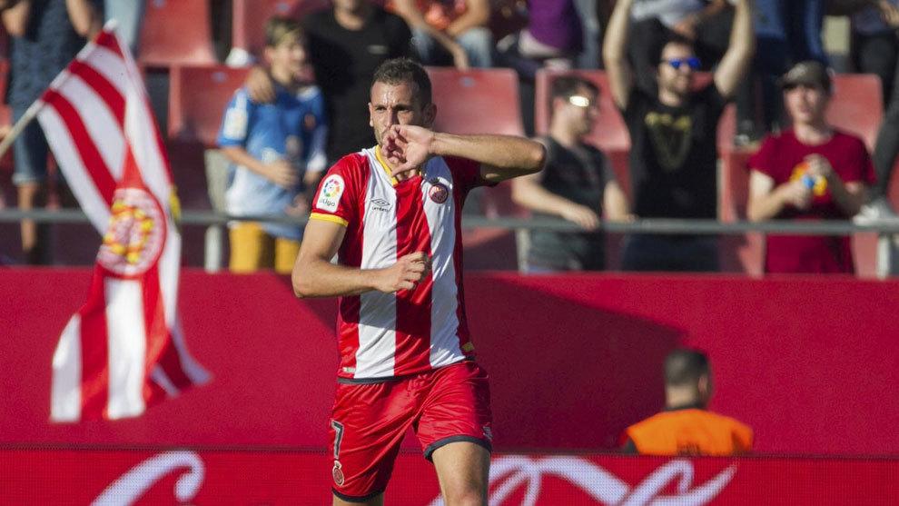 Stuani celebra un gol en Montilivi