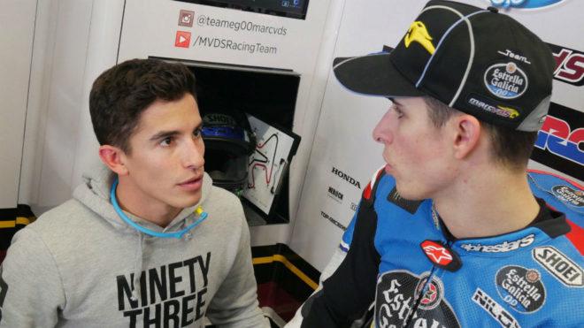 Marc, con Álex en el box.