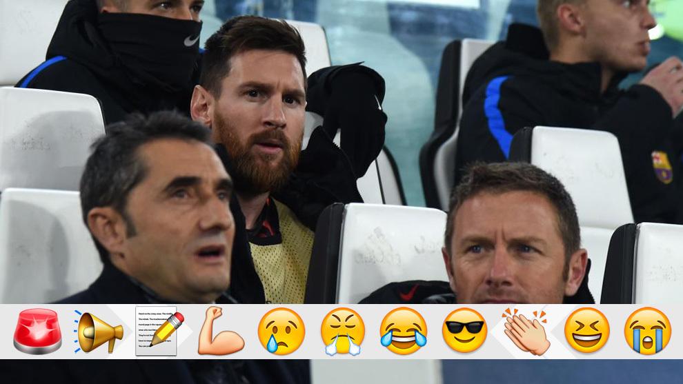 Valverde y Messi, en el banquillo del Juventus Stadium