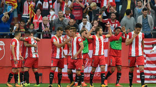 Los jugadores del Girona celebrando un gol esta temporada.