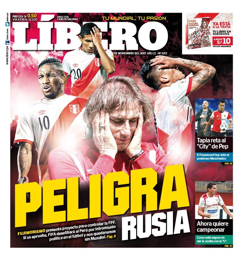 La portada del diario deportivo peruano Líbero