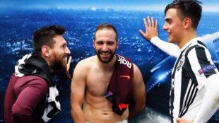 Lionel Messi, Gonzalo Hig�a�n y Paulo Dybala, en el Juventus Stadium