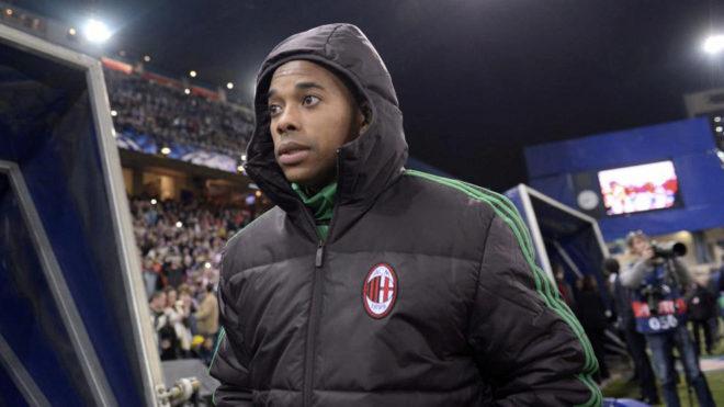 Robinho, en el Atlético de Madrid-Milan de la Champions 13/14
