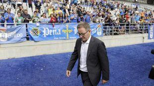 Anquela (63), durante un partido en el Carlos Tartiere