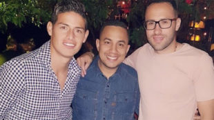 James con Pipe Peláez y David Ospina en junio de 2017.
