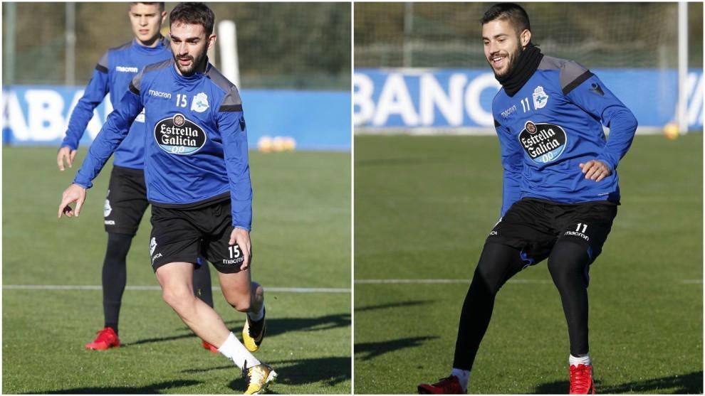 Adrián y Carles Gil, durante un entrenamiento del Dépor