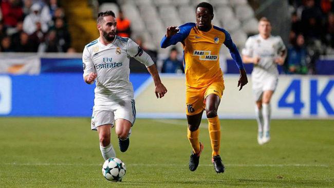 Carvajal, en un momento del partido contra el APOEL.