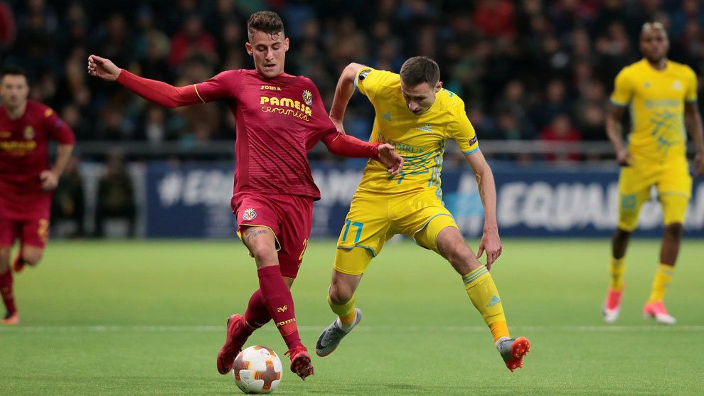 Raba, con la camiseta del Villarreal, en el partido contra el Astaná.