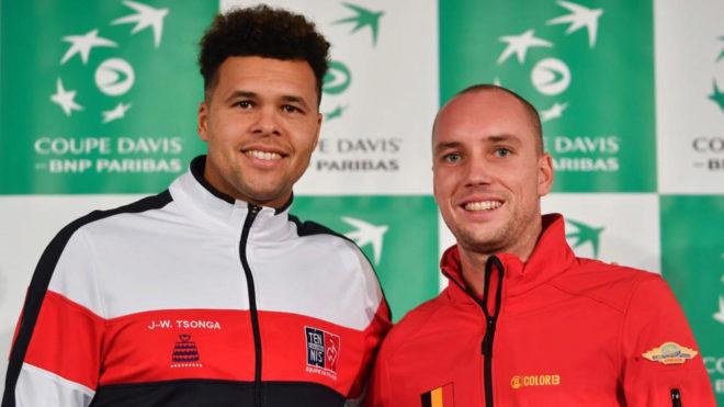 Tsonga y Darcis posan en la presentación de la final de la Copa Davis...