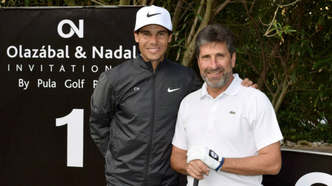 Nadal y Olazábal, antes del inicio del torneo en Pula Golf Resort
