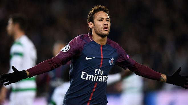 Neymar, celebrando un gol ante el Celtic.