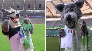 Mascotas de Wolfsburg y Lobos, embajadores de la alianza.