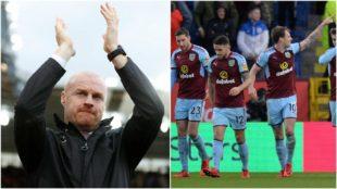 Sean Dyche aplaude mientras los jugadores del Burnley celebran un gol.