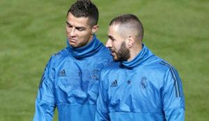 Cristiano y Benzema, en un entrenamiento