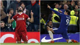 Salah celebra un gol al Maribor y Morata otro contra el United.