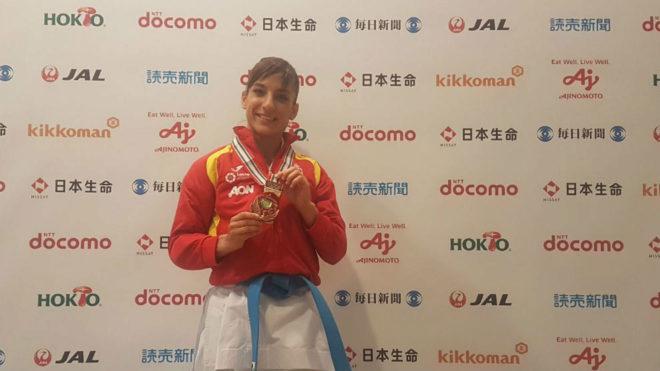 Sandra Sánchez, con el bronce logrado en el Open de Okinawa.