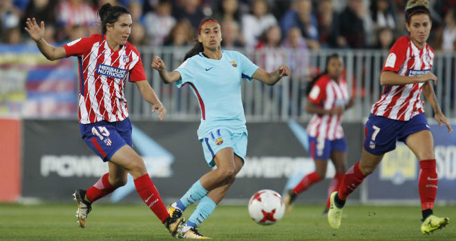 Lance del partido entre Atlético de Madrid y Barcelona de la Liga...
