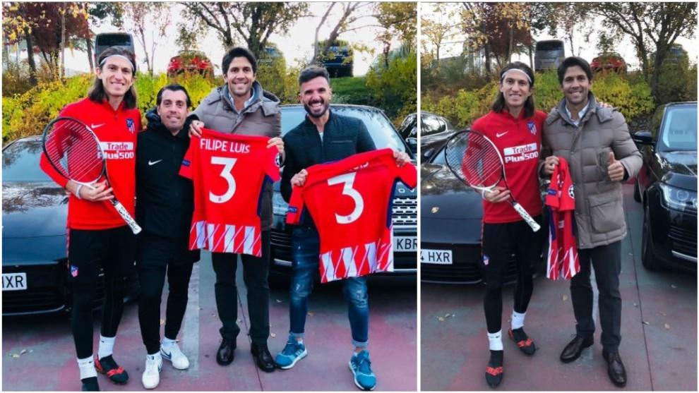 Fernando Verdasco y Chema Martínez posan con Filipe Luis en...