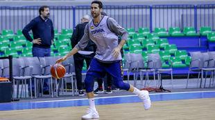 Sergi Vidal, durante el primer entrenamiento en Burgos