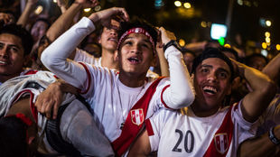 Aficionados peruanos durante el Perú-Nueva Zelanda