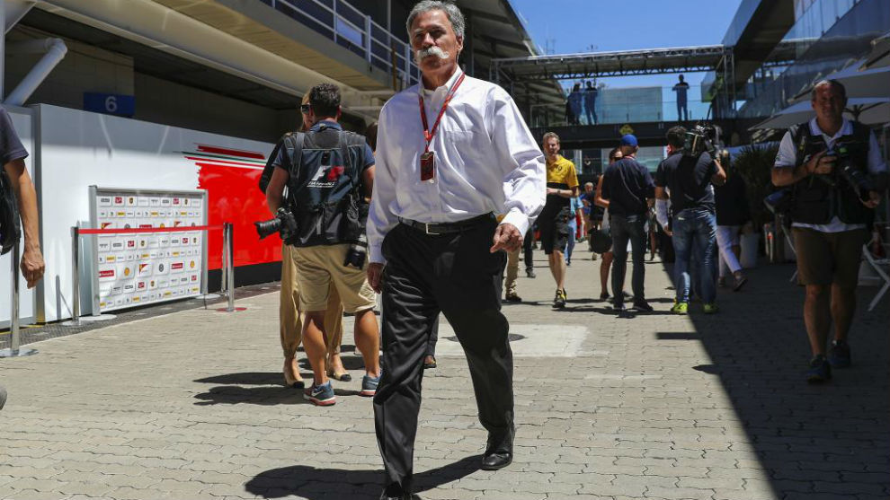 Chase Carey, máximo responsable de la F1 de Liberty Media, en Brasil