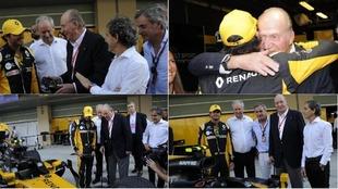 Los Sainz, el rey Juan Carlos y Alain Prost, junto al Renault en Yas...
