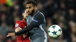 Douglas, en Old Trafford, en el último Manchester United-Benfica de...
