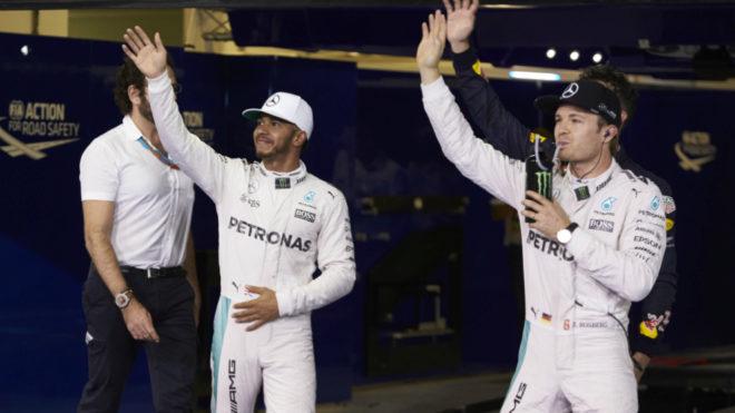 Hamilton y Rosberg.