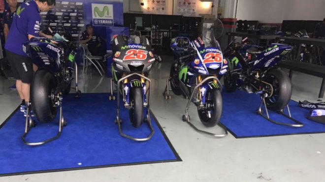 Las cuatro motos de Viñales en Sepang.