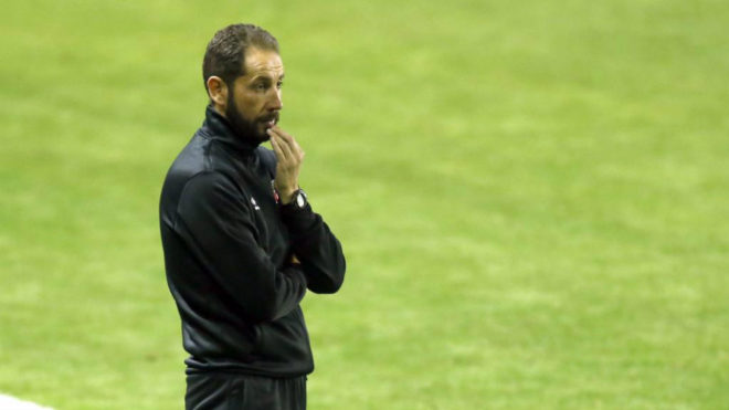 Machín, durante el partido de Copa en el Ciutat de València.