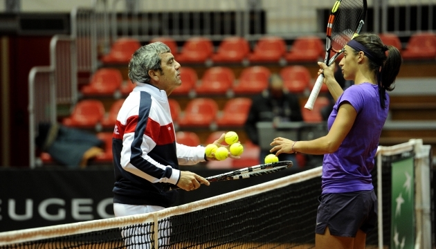 Gabriel Urpí durante un entrenamiento con Caroline Garcñia.