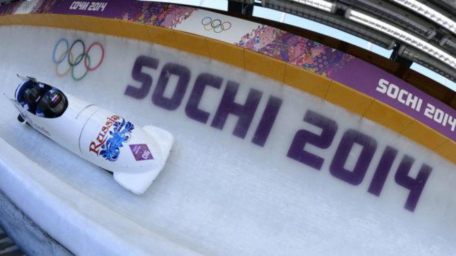 El equipo ruso de bobsleigh durante los Juegos de Sochi.