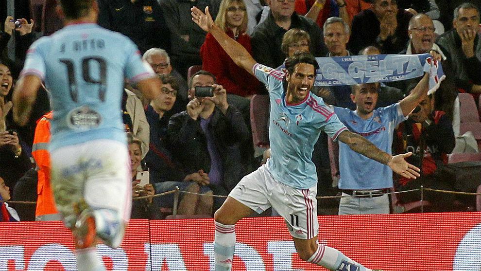 Larrivey celebrando el gol aquel día
