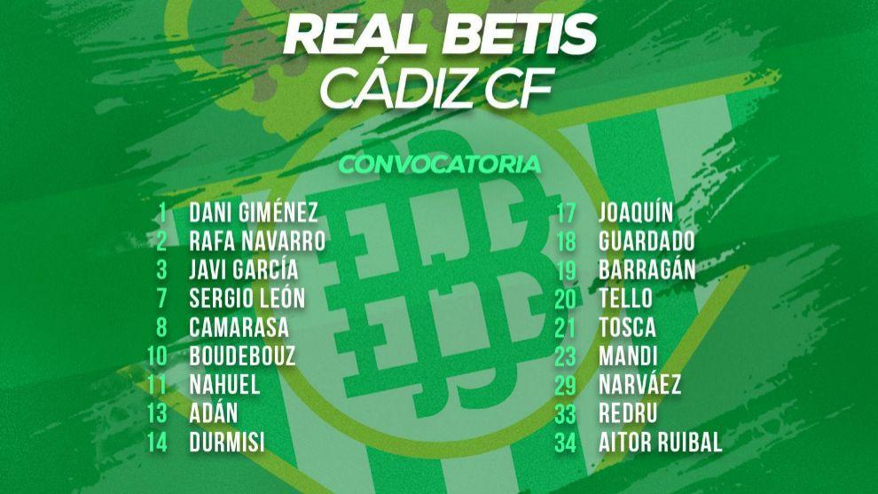 Convocatoria del Betis