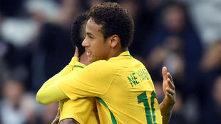 Neymar durante un partido con Brasil