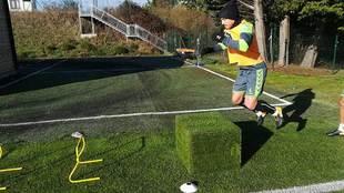 Una imagen del entrenamiento de este miércoles del equipo gallego