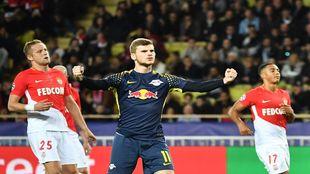 Timo Werner celebrando uno de sus goles ante el Mónaco