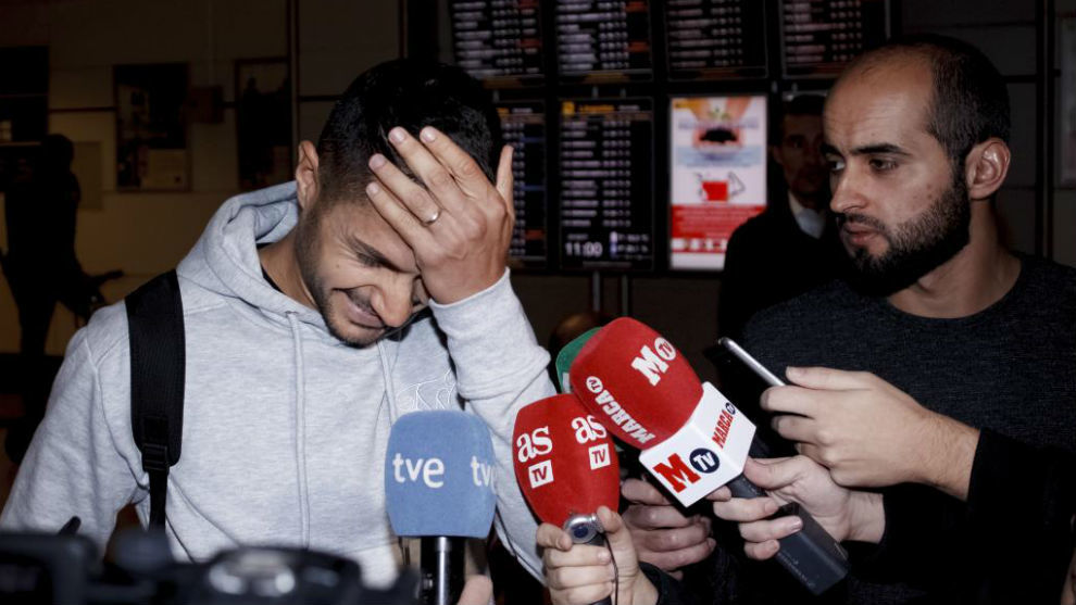 Vitolo, a su llegada a Madrid.