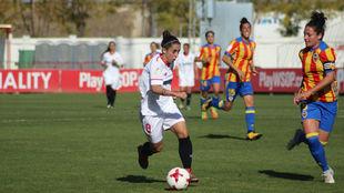 Nagore Calderón en su partido frente al Valencia.