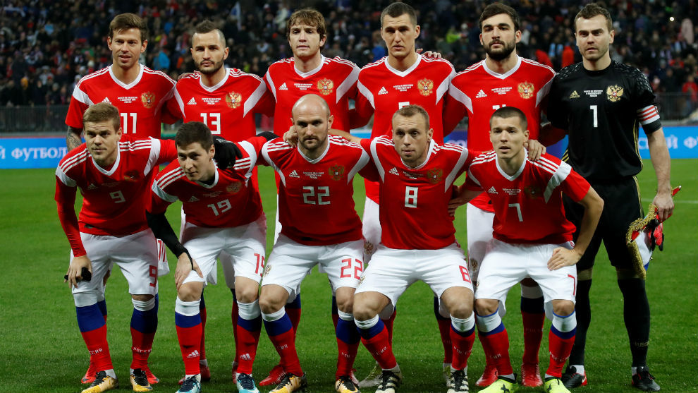 Once de Rusia en el amistoso disputado contra Argentina en Luzhniki.