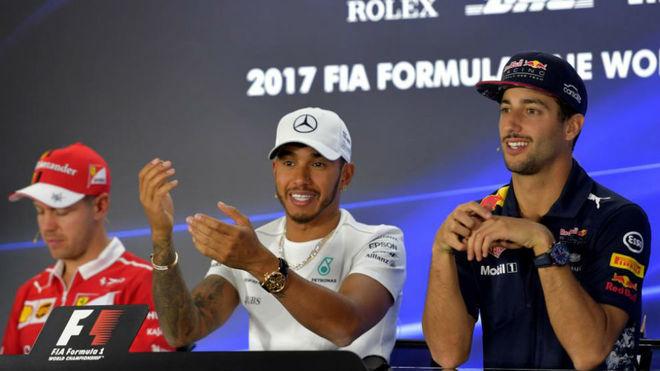 Vettel, Hamilton y Ricciardo.