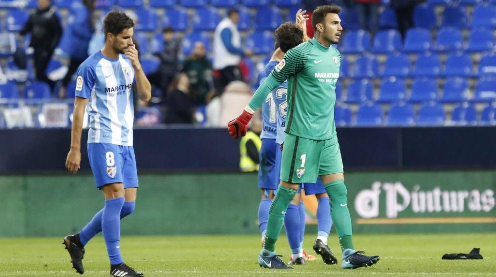 Roberto y Adrián tras acabar el partido ante el Levante.