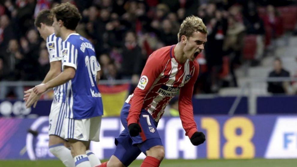 Griezmann celebra el gol de la victoria ante la Real Sociedad