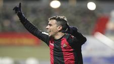 David Haro (27) celebra su gol.
