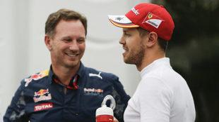 Horner y Vettel.
