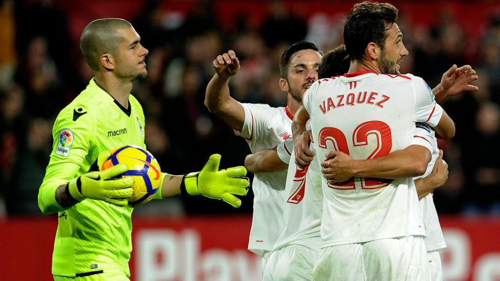 Ruben tras uno de los goles del Sevilla