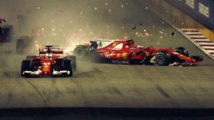 Momento en el que Vettel se estrella contra Verstappen y Raikkonen en...