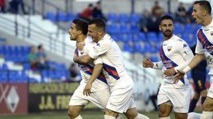 El Extremadura celebra un gol esta temporada.